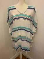 Surf Gypsy Women's Ivory Blue Striped Tassel Accent Cover Up Dress NWT