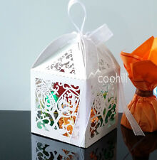 50x Red Wine Cup Laser Cut Candy Gift Boxes W/Ribbon Wedding Favors sweets Boxes