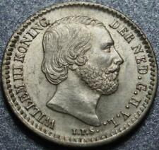 1884 NETHERLANDS Choice >NEVER USED< Lustrous SILVER 10 CENTS of King WILLEM III