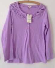 Ladies sz 12 Indigo Mauve Pure Cotton Top with Embroidery Yolk BNWT