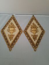 Vintage Pair Of Homco Home Decor Wall Plaques Home Interior Bouquet of Flowers