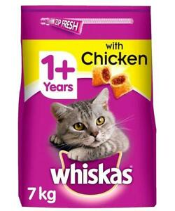 7kg Whiskas 1+ Adult Complete Dry Cat Food with Chicken Bulk Pack Cat Biscuits