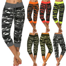 Womens Camo 3/4 Yoga Pants Gym Fitness Sports Casual Trousers Crop Leggings 6-20