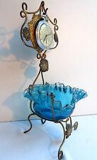 Porte-montre avec baguier en verre bleu, armature laiton, Napoléon III