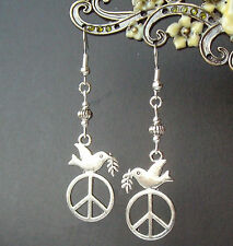 Pretty Dove and Peace Charm Dangly Earrings