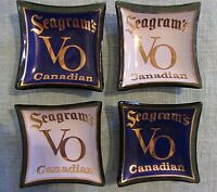 LOT OF 4 VINTAGE SMALL GLASS SEAGRAMS VO CANADIAN MINI ASHTRAY
