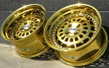 16x8 16x9 4x100 Gold Chrome ESM-15 Wheels Rims BMW E30 Mini Cooper Honda Acura