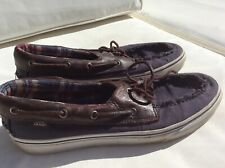 Mens Vans  Boat Deck Shoes UK 11.5 Blue with Brown Leather