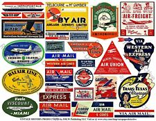 AIRPLANE LUGGAGE STICKERS & Air Mail Labels, 1 Sheet, 28 Travel REPRODUCTIONS
