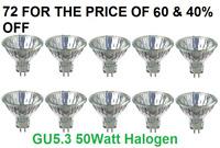 72x  MR16 GU5.3 50W HALOGEN DIMMABLE LIGHT BULB LAMP 12V - New Pack of 72