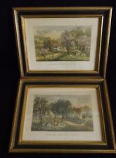 """Pair Currier & Ives Framed Lithographs American Homestead Spring & Autumn 15x12"""""""