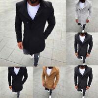 Fashion Men Winter Trench Coat Warm Outwear Long Jacket Formal Overcoat UK