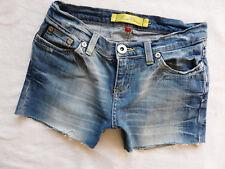 River Island Ladie denim shorts Size 10 Super skinny hot pants cut raw hems W30