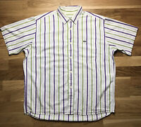 Mens Vintage Lacoste Shirt Large/XL Short Sleeve Cotton Striped