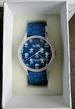 NWT Coach Maddy Stainless Steel Women's Blue Flower Rubber Strap Watch $160