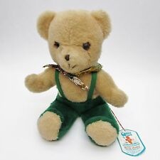 """Vtg Douglas Cuddle Toy Teddy Bear in Green Suspenders 14"""" - with Tag"""