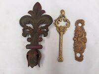 Vintage Decorative Metal Design - 3 Pcs ~ Fleur De Lis ~ Brass Key ~ Ornate