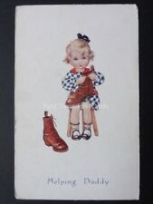 Little Girl Cleaning Shoes 'HELPING DADDY' c1905 by C.W. Faulkner & Co - No.1612