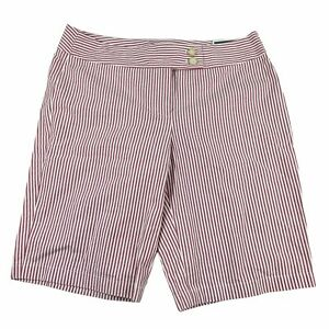 Ann Taylor Striped Signature Fit Shorts Size 8 Bermuda Cotton Red Whtie NWT