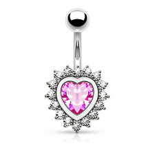 Belly Button Rings Heart Shape Pink CZ