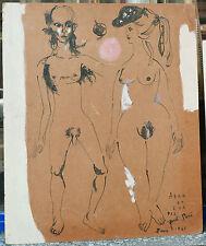 Dessin Original Encre Adam et Eve Couple Nu JORDI SARRA Espagne CATALAN 1961