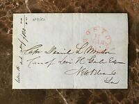 STAMPLESS MAIL BOSTON MA TO NEW ORLEANS LA. MAR. 19,1850 (CALIFORNIA GOLD RUSH)