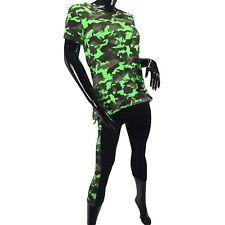 Completo DONNA Leggings + T-Shirt Mimetica Verde Camouflage Taglia Unica Tuta