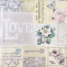 2 single paper napkins decoupage collection Serwetki Note Letter Retro Post Card