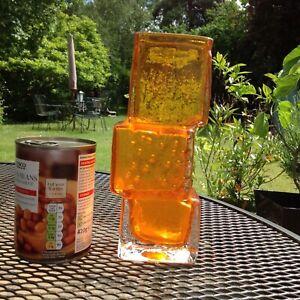 ORIGINAL MID CENTURY WHITEFRIARS GLASS DRUNKEN BRICKLAYER VASE TANGERINE BAXTER