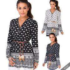 Damenblusen,-Tops & -Shirts im Tuniken-Stil mit V-Ausschnitt und Viskose für Freizeit