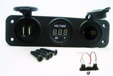 Easy Installation USB Charger + Voltmeter +12 V Socket Panel Marine Outlet Jack