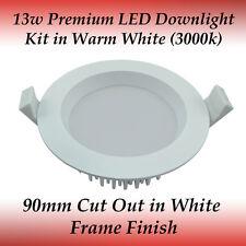 13 watt White Frame Premium Dimmable LED Downlight Kit in Warm White Light