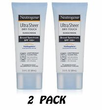 (2) Neutrogena Ultra Sheer Dry-Touch Sunscreen SPF 100 3oz UVA UVB Helioplex 2PK