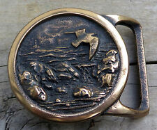 Seascape Tech Ether Birds Sea Brass 1970's Vintage Belt Buckle