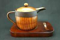 Natural wood w/ urushi coat, teapot & pedestal set by Japanese craftsmen /Japan