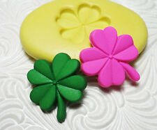 """1"""" 1Silicone Resin Polymer Clay Fimo Fondant Flexible Mold FOUR LEAF CLOVER"""