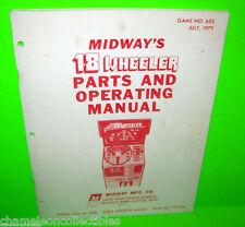 18 Wheel By Midway 1979 Original Video Arcade Game Parts Manual w/ Schematics