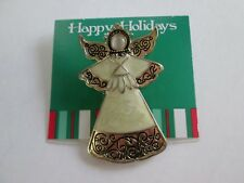 New Christmas Silvertone Stunning! Enameled Angel Pin Holiday