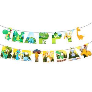 Dinosaur Tyrannosaurus Happy Birthday Paper Banner Hanging Bunting Party Decors