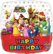 SUPER MARIO HAPPY BIRTHDAY HELIUM QUALITY SQUARE FOIL BALLOON 45CM