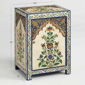 Indian Wooden Beautifull Flower Handpainted Bedside Storage Table, Side Table