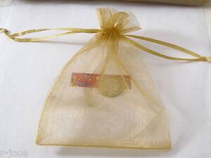 lotto stock di 100 sacchetti in organza color giallo bronzo misure 16 x 11  cm.