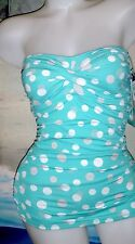 NWT JANTZEN VAMP RETRO POLKA DOT SWIMDRESS SWIMSUIT 8 AQUA