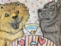 CHOW CHOW Drinking a Martini Original 9x12 Painting Artist KSams Dog Folk Art