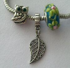 Owl Flower Murano Lampwork Bead Silver Leaf Dangle Charm for European Bracelet