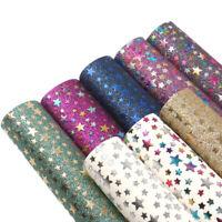 For DIY Craft Bows 20*34 cm Starfish Metallic Glitter Faux Leather Vinyl Fabric