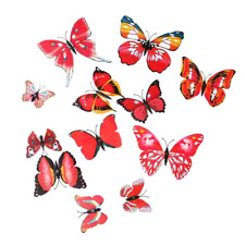 Removable DIY 3D Butterfly Wall Sticker Home Party Decoration Pack of 12 Red
