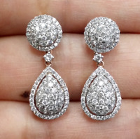 DEAL! 1.40CT NATURAL ROUND DIAMOND CLUSTER DROP DANGLE EARRINGS IN 14K GOLD 24MM