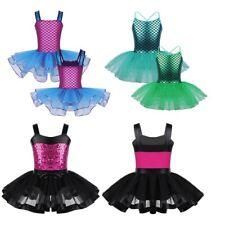 Girls Mermaid Dance Tutu Dress Kids Dancewear Costume Glitter Gymnastics Leotard