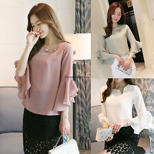 Trendy Women Casual Chiffon Solid Loose Flare Sleeve T Shirt Summer Blouse Tops